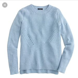 J. Crew lambswool pointelle blue sweater small S
